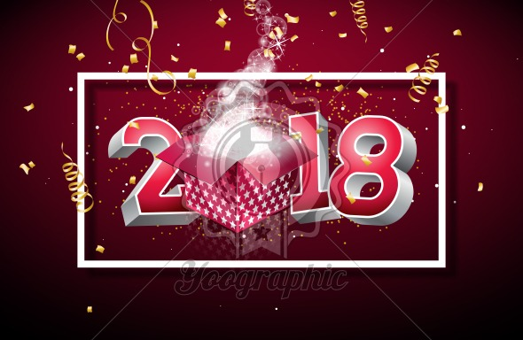 vector happy new year 2018 illustration with gift box and 3d number on shiny red background holiday design for premium greeting card party invitation or