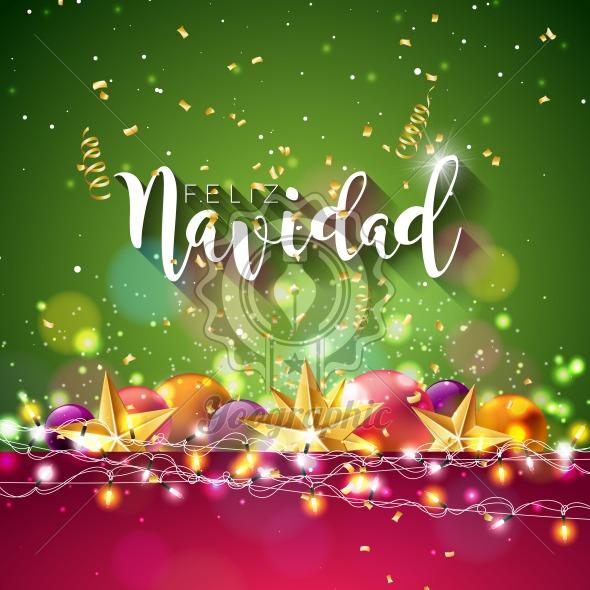 Christmas illustration with spanish feliz navidad typography and christmas illustration with spanish feliz navidad typography and gold cutout paper star ornamental ball on m4hsunfo