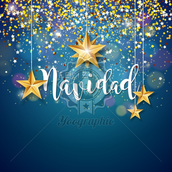 Christmas Illustration with Spanish Feliz Navidad Typography and Gold Cutout Paper Star on Shiny Blue Background. Vector Holiday Design for Premium Greeting Card, Party Invitation or Promo Banner. - Royalty Free Vector Illustration