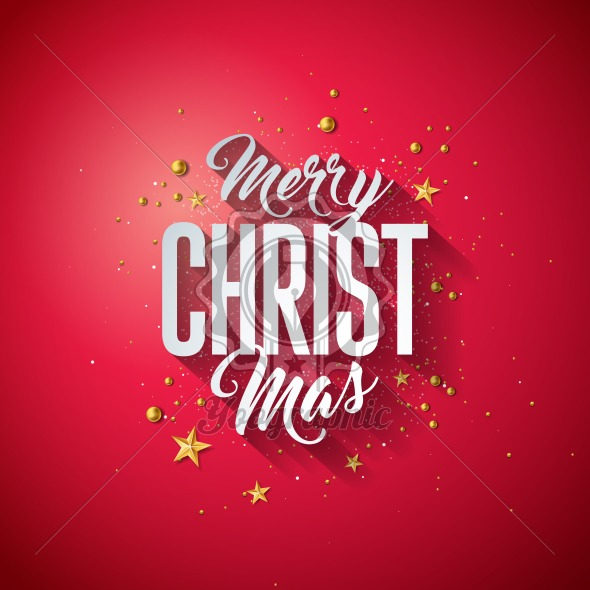 Merry Christmas Typography Illustration with 3d Holiday Element and Long Shadow on Shiny Red Background. Vector Design for Greeting Card, Party Invitation Poster or Promo Banner. - Royalty Free Vector Illustration