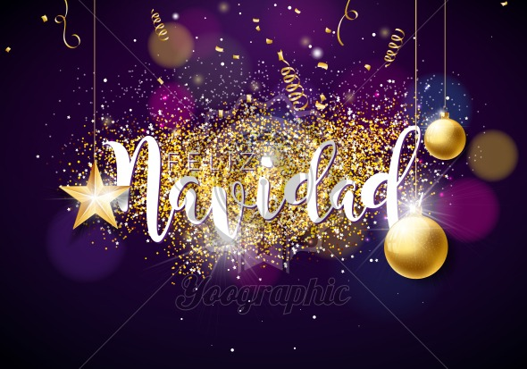 Christmas Illustration with Spanish Feliz Navidad Typography, Glass Ball, Confetti, Serpentine and Gold Cutout Paper Star on Shiny Violet Background. Creative Design for Greeting Card or Poster. - Royalty Free Vector Illustration