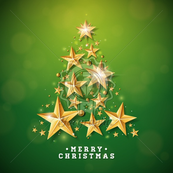 vector christmas and new year illustration with christmas tree made of cutout paper stars on green background holiday design for greeting card poster