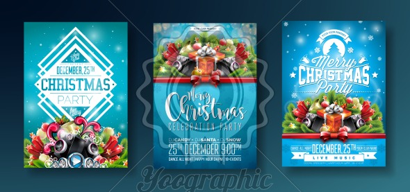 Vector Merry Christmas Party design with holiday typography elements and speakers on shiny blue background. Celebration Fliyer Illustration Set. - Royalty Free Vector Illustration