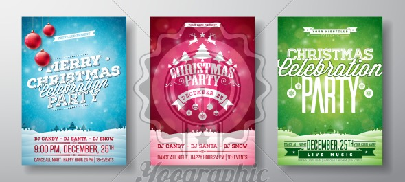 Vector Merry Christmas Party Flyer Illustration with Typography and Holiday Elements on Vintage background. Winter Landscape Invitation Poster Template Set of Three Color Variation. - Royalty Free Vector Illustration