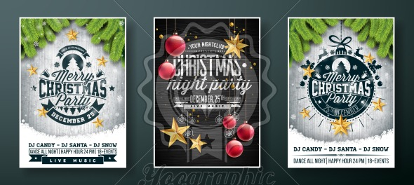 Vector Merry Christmas Party Flyer design with holiday typography elements and gold cutout paper stars, glass ball on vintage wood background. Illustration Set of Greeting Card or Invitation Poster. - Royalty Free Vector Illustration