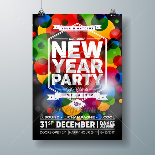 New Year Party Celebration Poster Template illustration with 3d 2018 Text and Disco Ball on Shiny Colorful Background. Vector EPS 10 design. - Royalty Free Vector Illustration