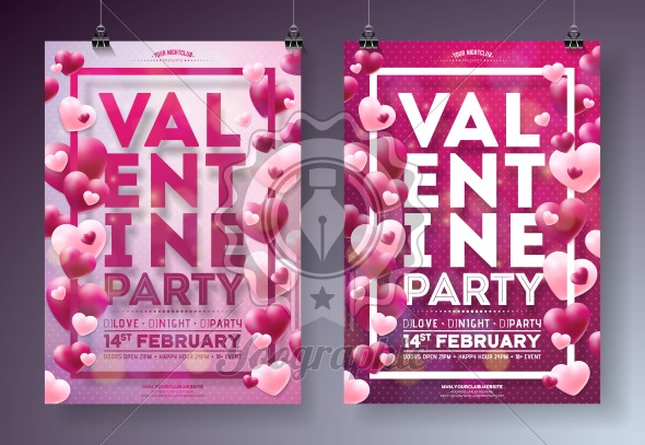 Valentines Day Party Flyer Illustration with Red Heart and Typography Design on Clean Background. Vector Holiday Celebration Poster Template for Invitation or Greeting Card. - Royalty Free Vector Illustration
