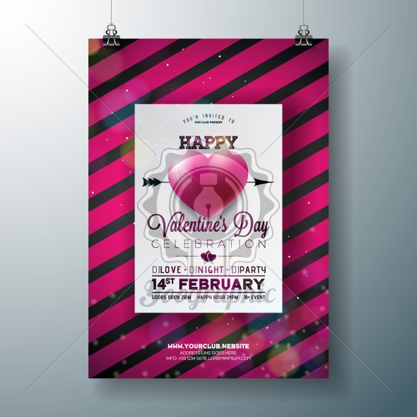 Vector Valentines Day Party Flyer Design With Typography And Hearth