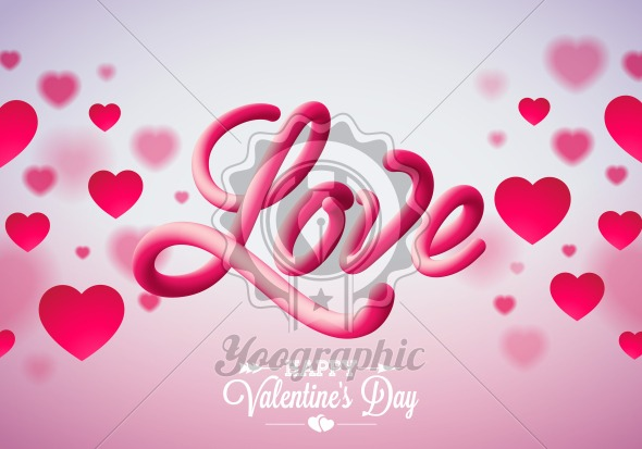 valentines day design with red heart and love typography letter on shiny pink background vector