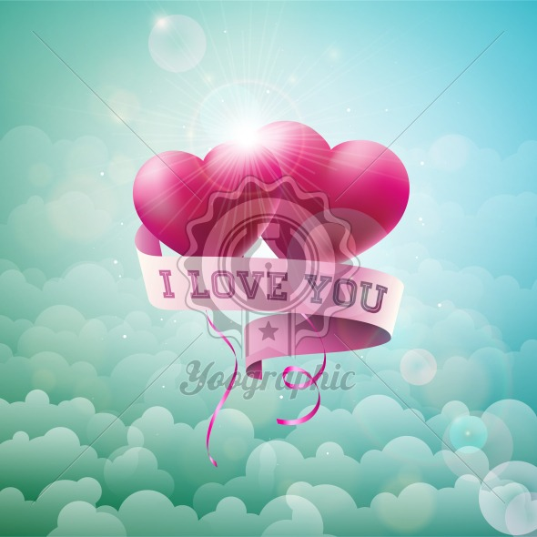 Happy Valentines Day Design with Red Balloon Heart and Typography Letter on Cloud Sky Background. Vector Wedding and Romantic Love Theme Illustration for Greeting Card, Party Invitation or Promo Banner. - Royalty Free Vector Illustration