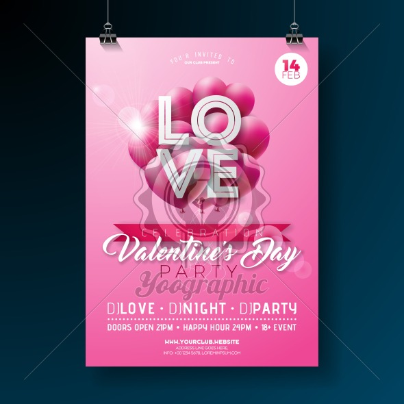 Valentines Day Party Flyer Design with Love Typography Letter and Flying Balloon Heart on Pink Background. Vector Celebration Poster Template for Invitation or Greeting Card. - Royalty Free Vector Illustration