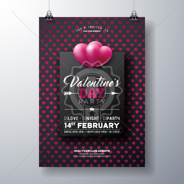 Vector Valentines Day Party Flyer Design with Typography on Red Heart Pattern Background. Premium Celebration Poster Template for Invitation or Greeting Card. - Royalty Free Vector Illustration