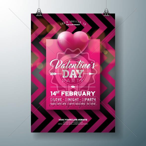 Vector Valentines Day Party Flyer Design with Typography and Heart on Red Background. Premium Celebration Poster Template for Invitation or Greeting Card. - Royalty Free Vector Illustration
