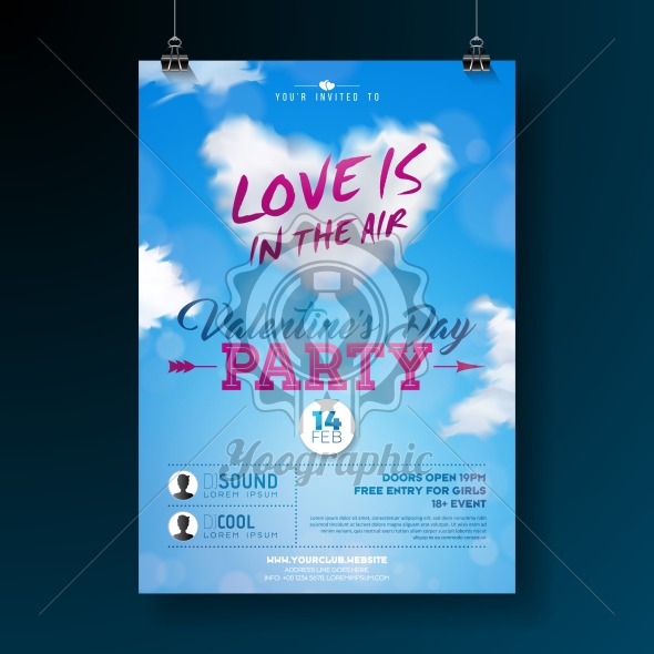 Valentines Day Party Flyer Design with Typography and Cloud Heart on Blue Background. Vector Love is in the Air Celebration Poster Template for Invitation or Greeting Card. - Royalty Free Vector Illustration
