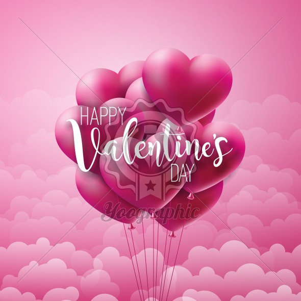 Happy Valentines Day Design with Red Balloon Heart and Typography Letter on Pink Cloud Background. Vector Wedding and Love Theme Illustration for Greeting Card, Party Invitation or Promo Banner. - Royalty Free Vector Illustration