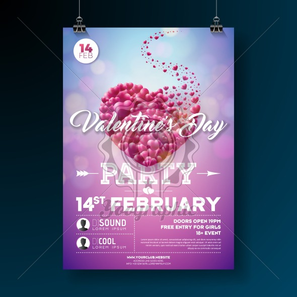 Vector Valentines Day Party Flyer Design with Typography and Heart on Red Background. Celebration Poster Template for Invitation or Greeting Card. - Royalty Free Vector Illustration