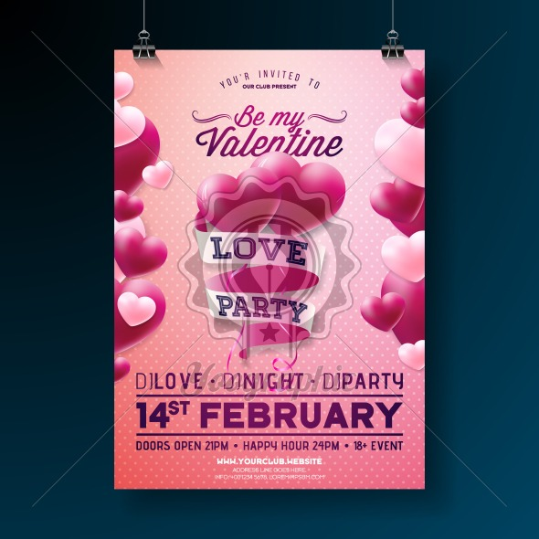 Vector Valentines Day Party Flyer Design with Typography and Balloon Heart on Pink Background. Love Celebration Poster Template for Invitation or Greeting Card. - Royalty Free Vector Illustration
