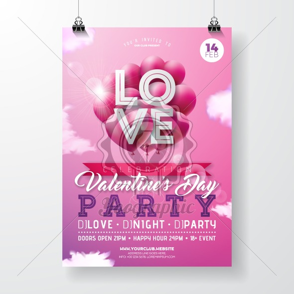 Valentines Day Party Flyer Design with Red Hear Balloon, Typography and Cloud on Pink Background. Vector Celebration Poster Template for Invitation or Greeting Card. - Royalty Free Vector Illustration