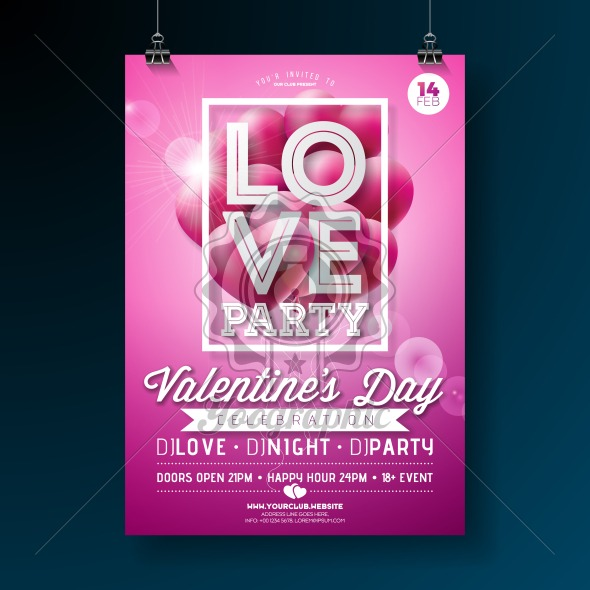 Valentines Day Party Flyer Design with Love Typography Letter and Flying Balloon Heart on Pink Background. Vector Holiday Celebration Poster Template for Invitation or Greeting Card. - Royalty Free Vector Illustration