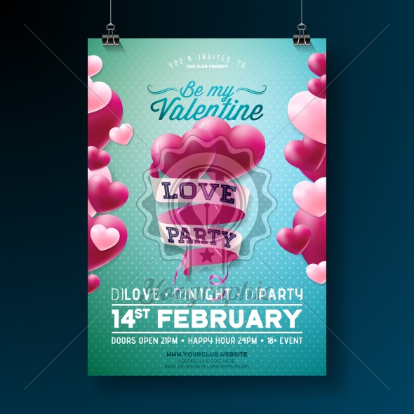 Vector Valentines Day Love Party Flyer Design With Typography And
