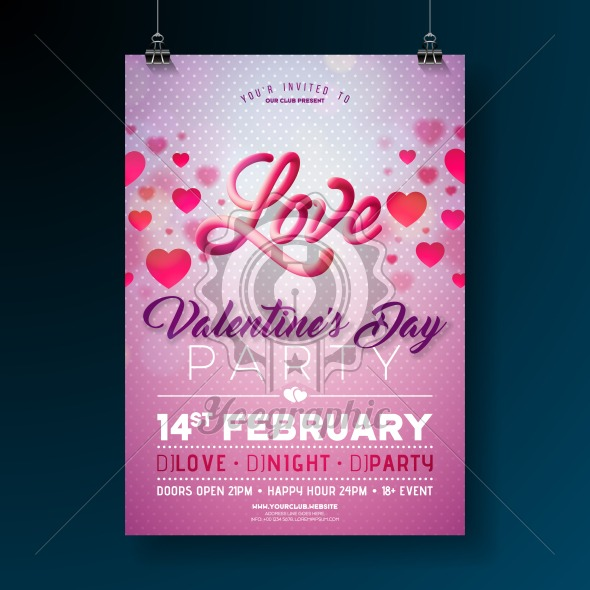 Vector Valentines Day Party Flyer Design with Love Typography Letter and Heart on Clean Background. Celebration Poster Template for Invitation or Greeting Card. - Royalty Free Vector Illustration