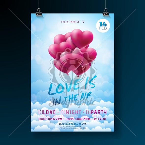 Vector Valentines Day Party Flyer Design with Typography and Balloon Heart on Cloud Background. Love is in the Air Celebration Poster Template for Invitation or Greeting Card. - Royalty Free Vector Illustration