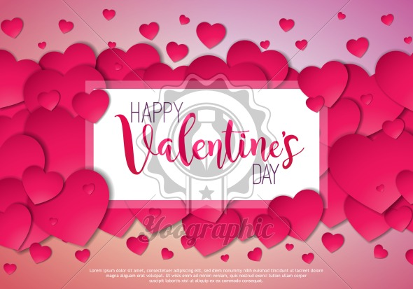 Happy Valentines Day Design with Red Heart on Shiny Pink Background. Vector Wedding and Love Theme Illustration for Greeting Card, Party Invitation or Promo Banner. - Royalty Free Vector Illustration