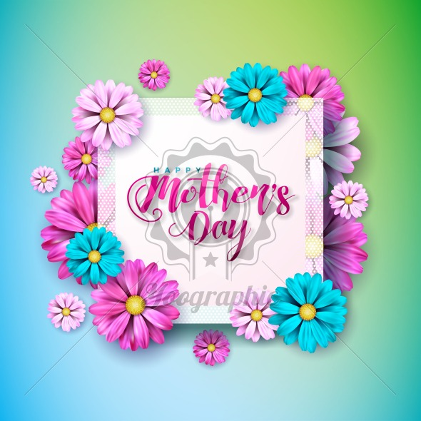 Happy mothers day greeting card with flower on pink background happy mothers day greeting card with flower on pink background vector celebration illustration template with typographic design for banner flyer stopboris Gallery