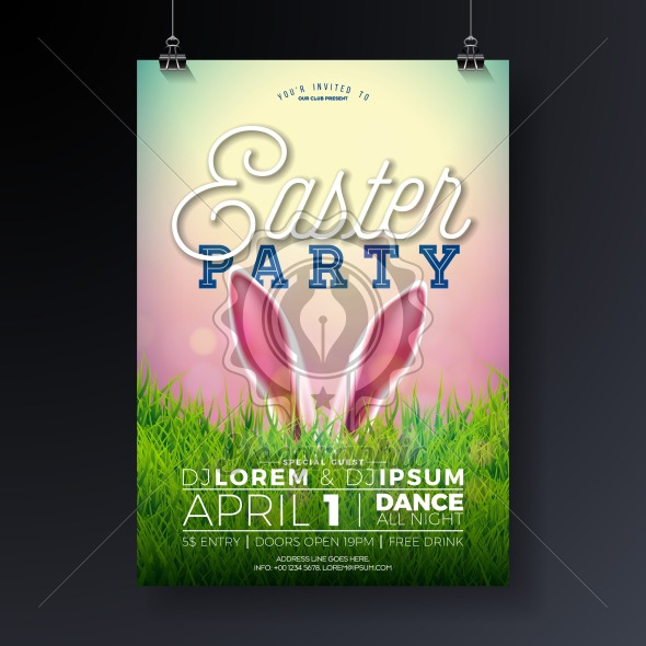 Vector Easter Party Flyer Illustration with rabbit ears and typography elements on nature green grass background. Spring holiday celebration poster design template. - Royalty Free Vector Illustration