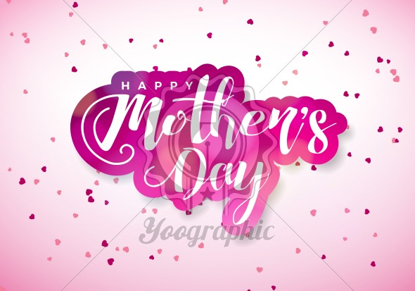 Happy mothers day greeting card with hearth and typographic design happy mothers day greeting card with hearth and typographic design on pink background vector celebration illustration template for banner flyer m4hsunfo