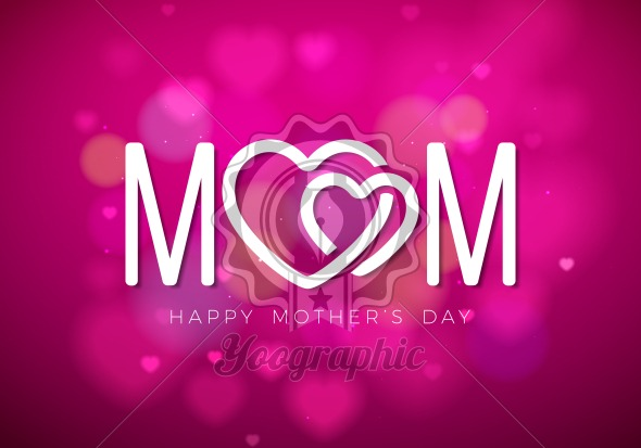 Happy Mothers Day Greeting card illustration with Mom typographic design and hearth symbol on pink background. Vector Celebration Illustration template for banner, flyer, invitation, brochure, poster. - Royalty Free Vector Illustration