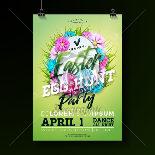Vector Easter Party Flyer Illustration with painted eggs, flowers and typography elements on nature blue background. Spring holiday celebration poster design template. - Royalty Free Vector Illustration