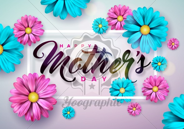 Happy Mothers Day Greeting card with flower on pink background. Vector Celebration Illustration template with typographic design for banner, flyer, invitation, brochure, poster. - Royalty Free Vector Illustration