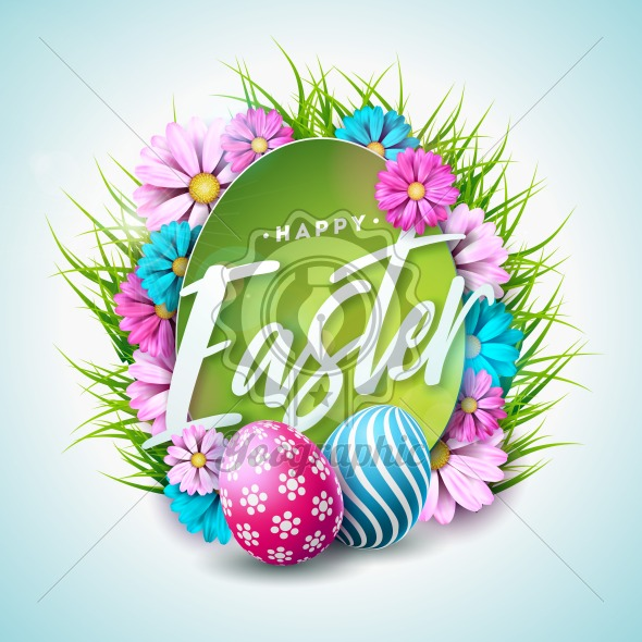 Happy Easter Holiday Illustration with Painted Egg, Flower and Green Grass on White Background. Vector International Spring Celebration Design Template with Typography for Greeting Card, Party Invitation or Promo Banner. - Royalty Free Vector Illustration