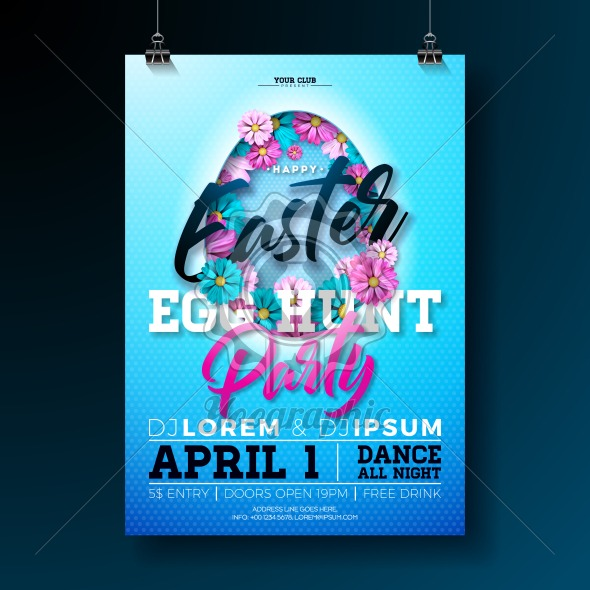 Vector Easter Egg Hunt Party Flyer Illustration with flowers in cutting egg silhouette and typography elements on nature blue background. Spring holiday celebration poster design template. - Royalty Free Vector Illustration