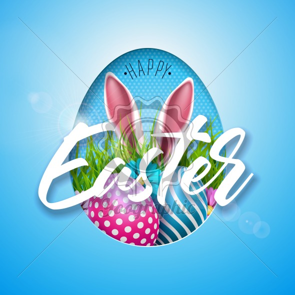 Vector Illustration of Happy Easter Holiday with Painted Egg, Rabbit Ears and Flower on Shiny Blue Background. International Spring Celebration Design with Typography for Greeting Card, Party Invitation or Promo Banner. - Royalty Free Vector Illustration