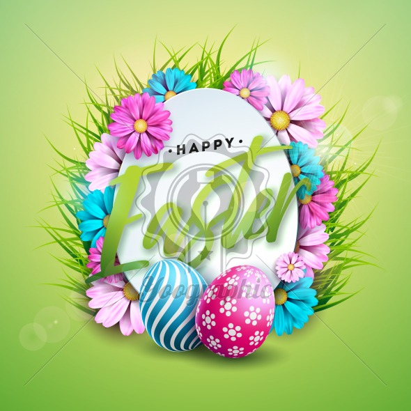 Vector Illustration of Happy Easter Holiday with Painted Egg and Color Flower on Shiny Green Background. International Spring Celebration Design with Typography for Greeting Card, Party Invitation or Promo Banner. - Royalty Free Vector Illustration