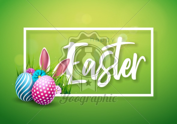 Vector Illustration of Happy Easter Holiday with Painted Egg, Rabbit Ears and Flower on Shiny Green Background. International Celebration Design with Typography for Greeting Card, Party Invitation or Promo Banner. - Royalty Free Vector Illustration