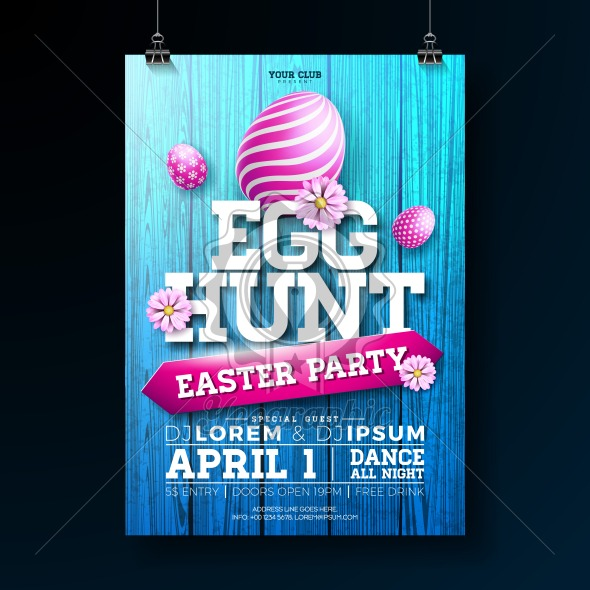 Vector Egg Hunt Easter Party Flyer Illustration with painted eggs, flowers and typography elements on vintage wood texture background. Spring holiday celebration poster design template. - Royalty Free Vector Illustration