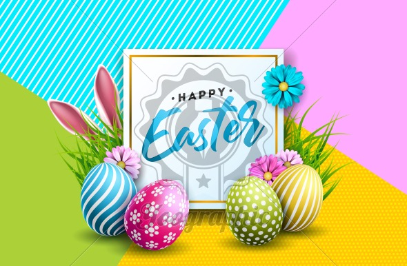 Vector Illustration of Happy Easter Holiday with Painted Egg, Rabbit Ears and Flower on Colorful Background. International Spring Celebration Design with Typography for Greeting Card, Party Invitation or Promo Banner. - Royalty Free Vector Illustration