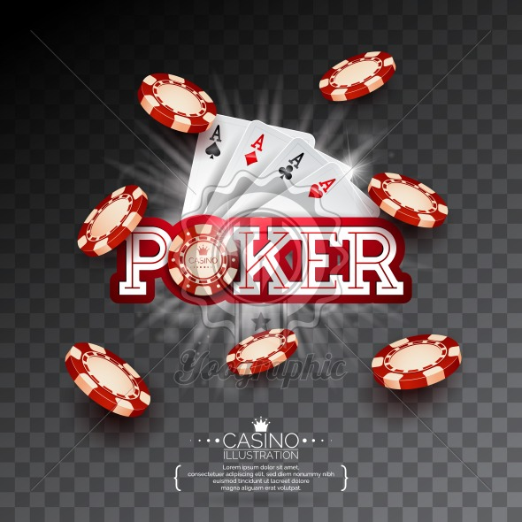 Casino Illustration with poker card and falling playing chips on transparent background. Vector gambling design for invitation or promo banner. - Royalty Free Vector Illustration