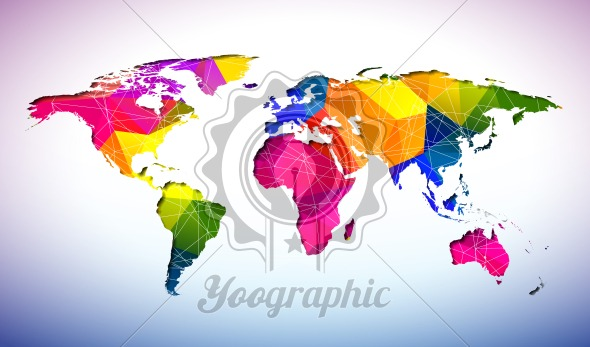 World map design with abstract geometric color background on world map design with abstract geometric color background on environment concept earth illustration with continents vector graphic for banner poster or gumiabroncs Choice Image