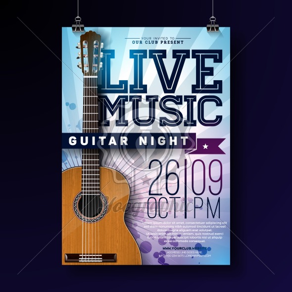 Live music flyer design with acoustic guitar on grunge background. Vector illustration template for invitation poster, promotional banner, brochure, or greeting card. - Royalty Free Vector Illustration