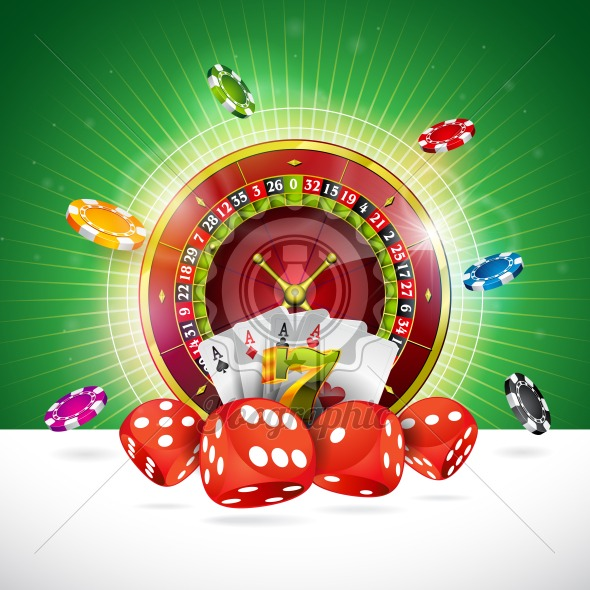 Casino Illustration with roulette wheel and playing chips on green background. Vector gambling design for invitation or promo banner with dice. - Royalty Free Vector Illustration