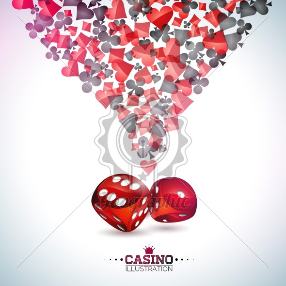 Casino playing card symbols on white background. Vector Gambling floating design element and dice for invitation or promo banner. - Royalty Free Vector Illustration