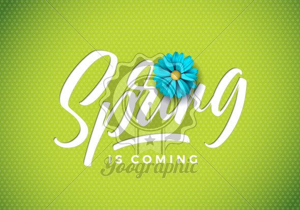 Vector spring is coming illustration with beautiful blue flower on fresh green background. Floral design template with typography letter for greeting card or promotional banner. - Royalty Free Vector Illustration