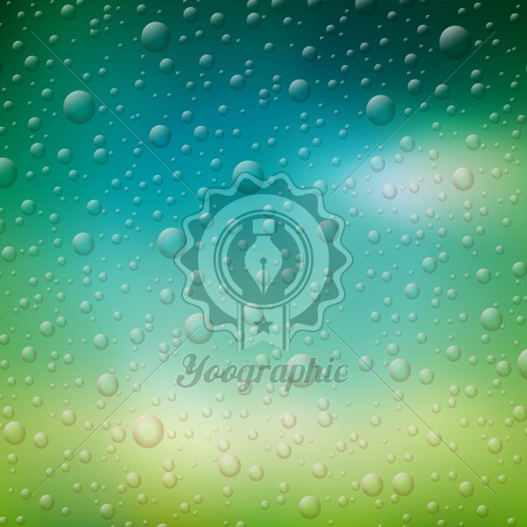 Vector water drops illustration on blurred nature background. - Royalty Free Vector Illustration