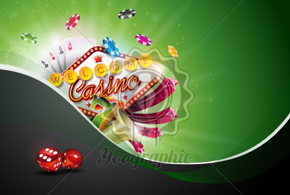 Casino Illustration with poker cards and playing chips on green background. Vector gambling design for invitation or promo banner with dice. - Royalty Free Vector Illustration