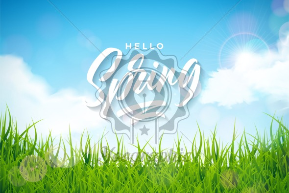 Vector spring illustration with green grass on nature landscape background. Floral design template with typography letter. - Royalty Free Vector Illustration