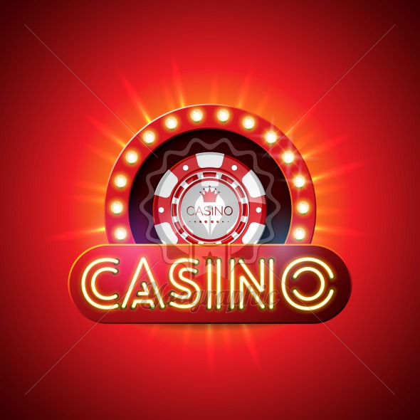 Casino illustration with neon light letter and playing chips on red background. Vector gambling design with shiny lighting display for invitation or promo banner. - Royalty Free Vector Illustration
